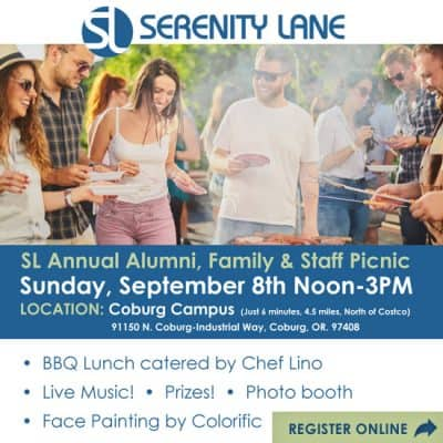 Serenity Lane Annual Alumni, Family and Staff Picnic on Sunday, September 8th, 2019 from Noon-3pm